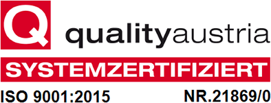 Quality Austria ISO 9001:2015 Systemzertifiziert NR. 21869/0